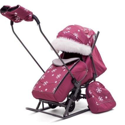 Санки-коляски Снежинки «Малина» (материал «Dewspoo» плотностью 240 D, овчина, 3 положения спинки, краска рамы темно-серый)